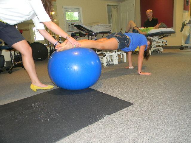 PT McKenzie working on strengthening exercises